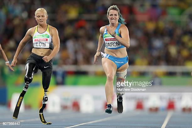 Vanessa Low of Germany and Martina Caironi of Italy compete at the Women's 100m T42 Final during day 10 of the Rio 2016 Paralympic Games at the...