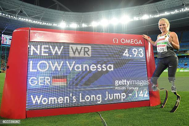 Vanessa Low of Germany poses after setting uo the world record fpr the women's long jump T42 final on day 3 of the Rio 2016 Paralympic Games at...