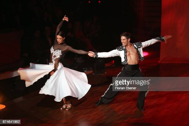 Vanessa Mai and Christian Polanc perform on stage during the 6th show of the tenth season of the television competition 'Let's Dance' on April 28...