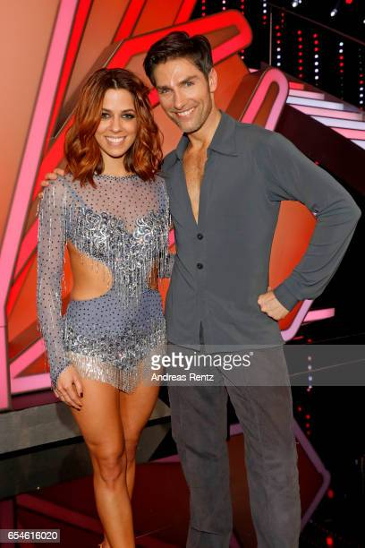 Vanessa Mai and Christian Polanc pose after the 1st show of the tenth season of the television competition 'Let's Dance' on March 17 2017 in Cologne...