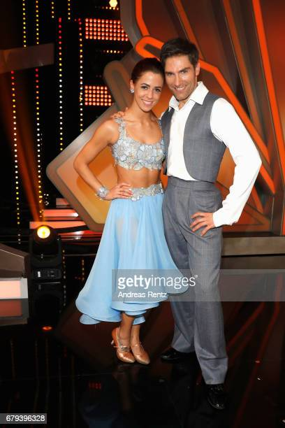 Vanessa Mai and Christian Polanc pose on stage during the 7th show of the tenth season of the television competition 'Let's Dance' on May 5 2017 in...