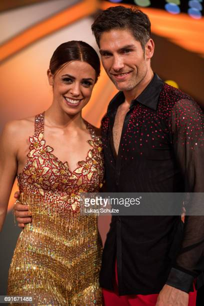 Vanessa Mai and Christian Polanc smile after the semi final of the tenth season of the television competition 'Let's Dance' on June 2 2017 in Cologne...