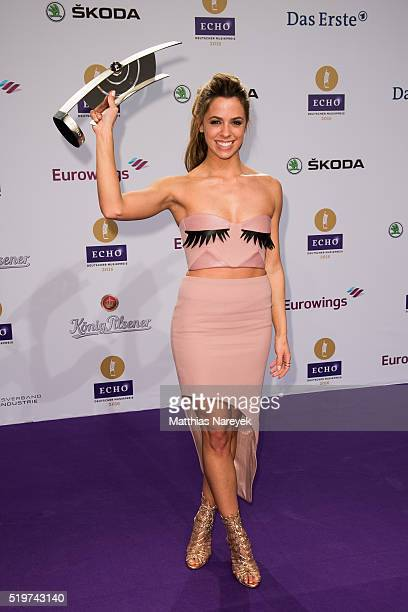 Vanessa Mai poses with her award at the winners board during the Echo Award 2016 on April 7 2016 in Berlin Germany