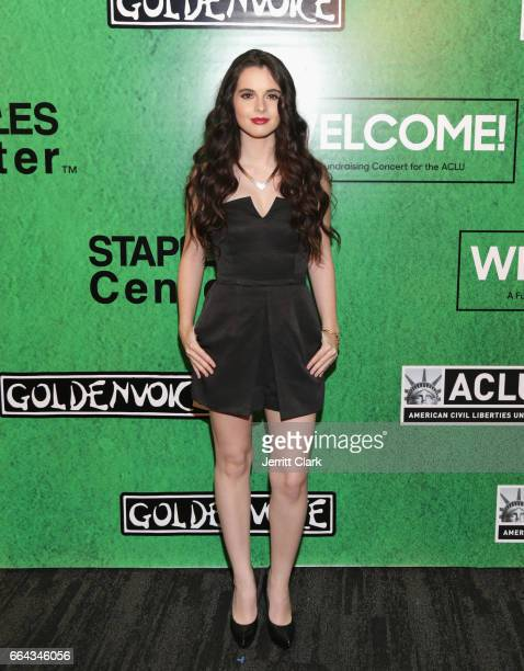 Vanessa Marano arrives at the Zedd Presents WELCOME Fundraising Concert Benefiting The ACLU at Staples Center on April 3 2017 in Los Angeles...