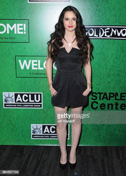 Vanessa Marano arrives at Zedd Presents WELCOME Fundraising Concert Benefiting The ACLU at Staples Center on April 3 2017 in Los Angeles California