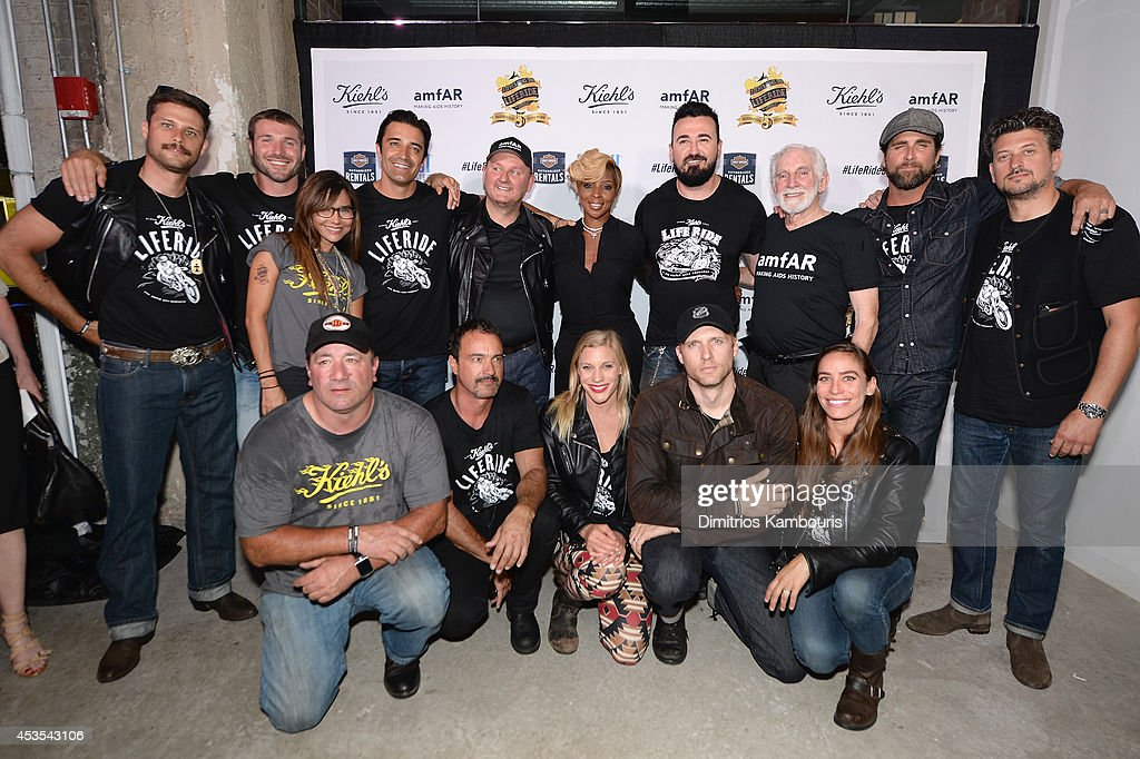 Vanessa Marcil, Gilles Marini, Chris Frost, Mary J. Blige, Chris Salgardo, Dr. Mervyn Silverman and guests, and (front row C) Katee Sackhoff, Teddy Sears, and Milissa Sears attend Kiehl's LifeRide Finale Event on August 12, 2014 in New York City.