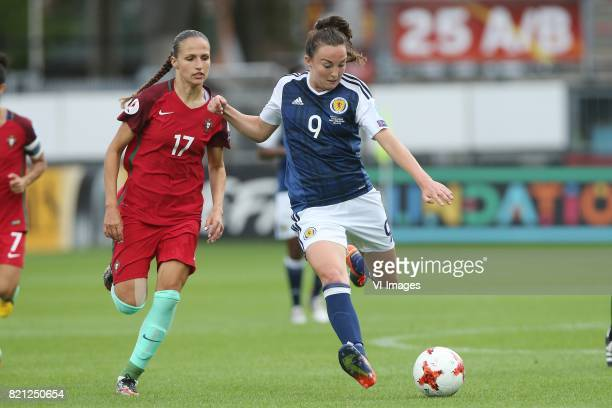 Vanessa Marques of Portugal women Caroline Weir of Scotland women during the UEFA WEURO 2017 Group D group stage match between Scotland and Portugal...
