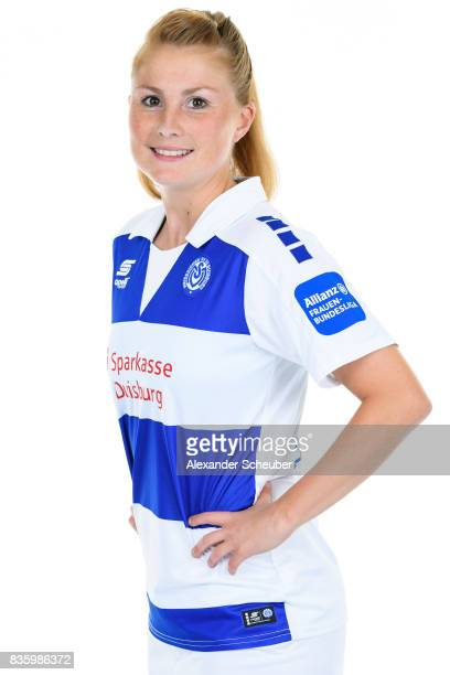 Vanessa Martini of MSV Duisburg poses during the Allianz Frauen Bundesliga Club Tour at MSV Duisburg on August 17 2017 in Duisburg Germany
