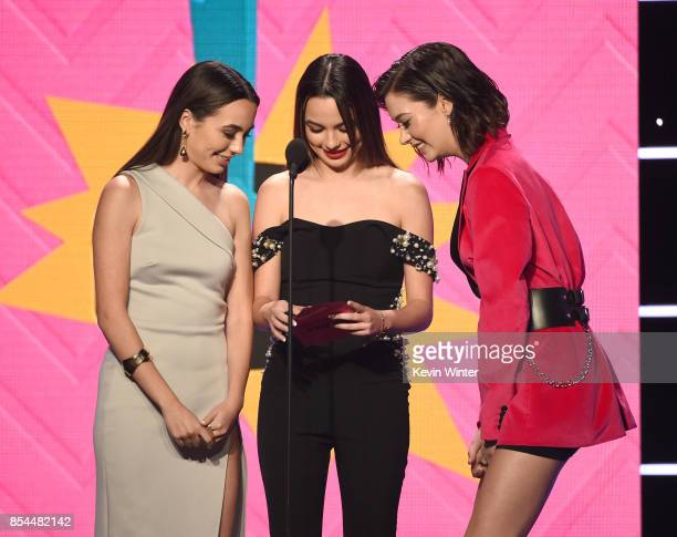 Vanessa Merrell Veronica Merrell and Amanda Steele onstage during the 2017 Streamy Awards at The Beverly Hilton Hotel on September 26 2017 in Beverly...