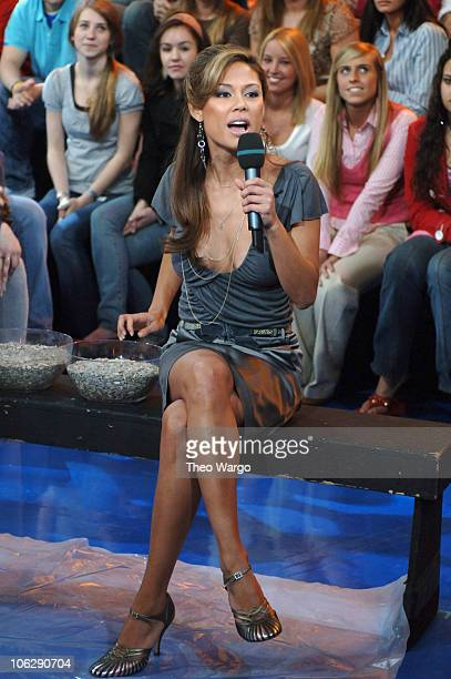 Vanessa Minnillo during Lucy Liu Josh Hartnett and Rob Schneider Visit MTV's 'TRL' April 6 2006 at MTV Studios Times Square in New York City New York...