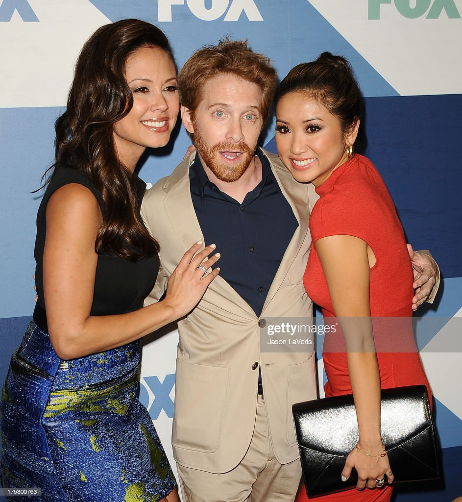 Vanessa Minnillo Lachey, Seth Green and Brenda Song attend the FOX All-Star Party on August 1, 2013 in West Hollywood, California.