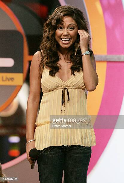 MTV VJ Vanessa Minnillo makes an appearance on MTV's Total Request Live on October 19 2004 in New York City