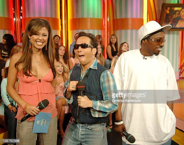 Vanessa Minnillo Rob Schneider and Eddie Griffin during The Cast of 'Deuce Bigalow European Gigolo' Visit MTV's 'TRL' August 11 2005 at MTV Studios...