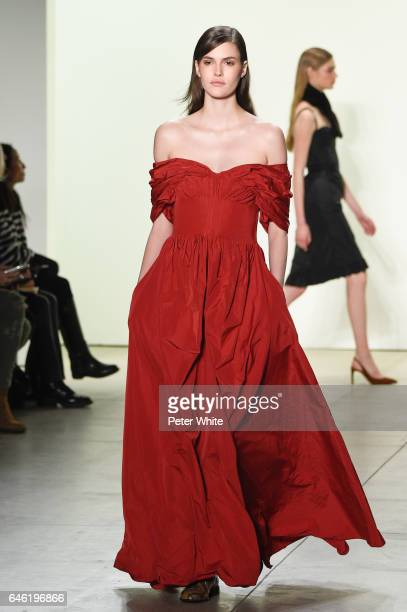Vanessa Moody walks the runway at Brock Collection Show during New York Fashion Week Fall Winter 20172018 at Gallery 2 Skylight Clarkson Sq on...