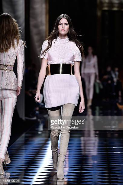 Vanessa Moody walks the runway during the Balmain show as part of the Paris Fashion Week Womenswear Fall/Winter 2016/2017 on March 3 2016 in Paris...