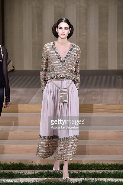 Vanessa Moody walks the runway during the Chanel Spring Summer 2016 show as part of Paris Fashion Week on January 26 2016 in Paris France