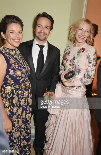 Vanessa Nadal LinManuel Miranda and Cate Blanchett attend a drinks reception ahead of the London Evening Standard Theatre Awards 2017 at the Theatre...