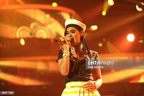 Vanessa Neigert performs her song in front of the audience during the rehearsal for the singer qualifying contest DSDS 'Deutschland sucht den...