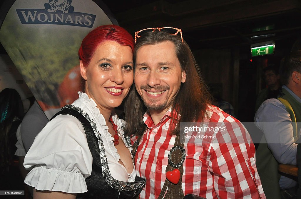 Vanessa Newton and Andy Lepsi pose during the beauty competition 'Miss Wiener Wiesn-Fest 2013' at Bettel-Alm on June 6, 2013 in Vienna, Austria.