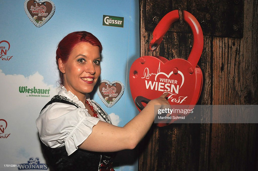 Vanessa Newton poses during the beauty competition 'Miss Wiener Wiesn-Fest 2013' at Bettel-Alm on June 6, 2013 in Vienna, Austria.