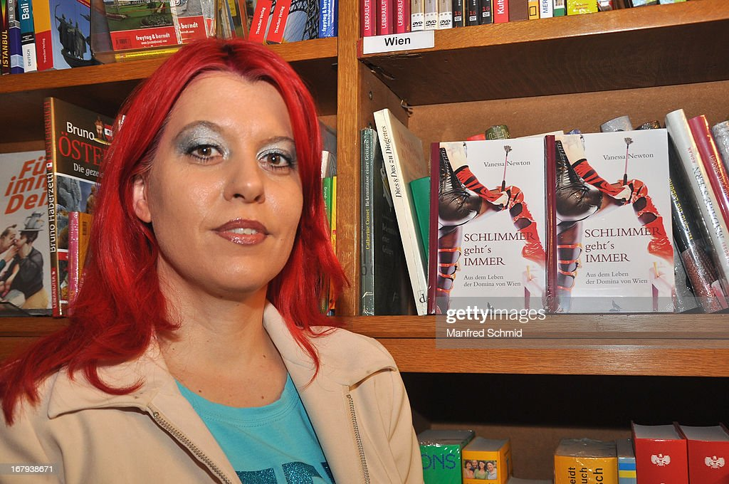 Vanessa Newton poses during the book presentation 'Schlimmer geht's immer' at Buchhandlung Quellenplatz on May 2, 2013 in Vienna, Austria.