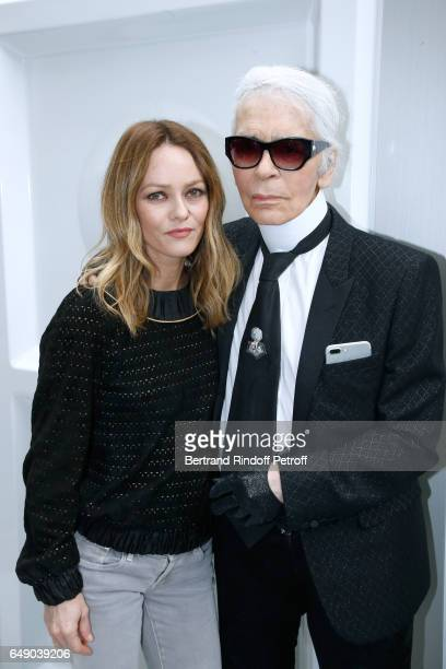 Vanessa Paradis and Stylist Karl Lagerfeld pose after the Chanel show as part of the Paris Fashion Week Womenswear Fall/Winter 2017/2018 on March 7...
