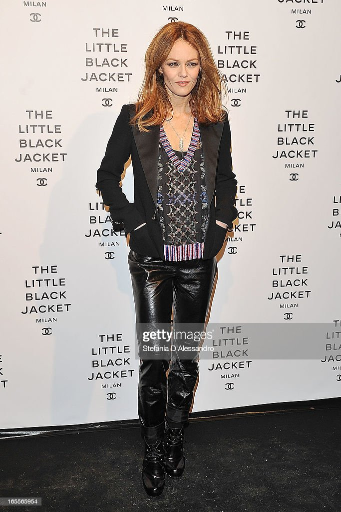 <a gi-track='captionPersonalityLinkClicked' href=/galleries/search?phrase=Vanessa+Paradis&family=editorial&specificpeople=206631 ng-click='$event.stopPropagation()'>Vanessa Paradis</a> attends Chanel The Little Black Jacket - Karl Lagerfeld Photography Exhibition Dinner Party on April 4, 2013 in Milan, Italy.