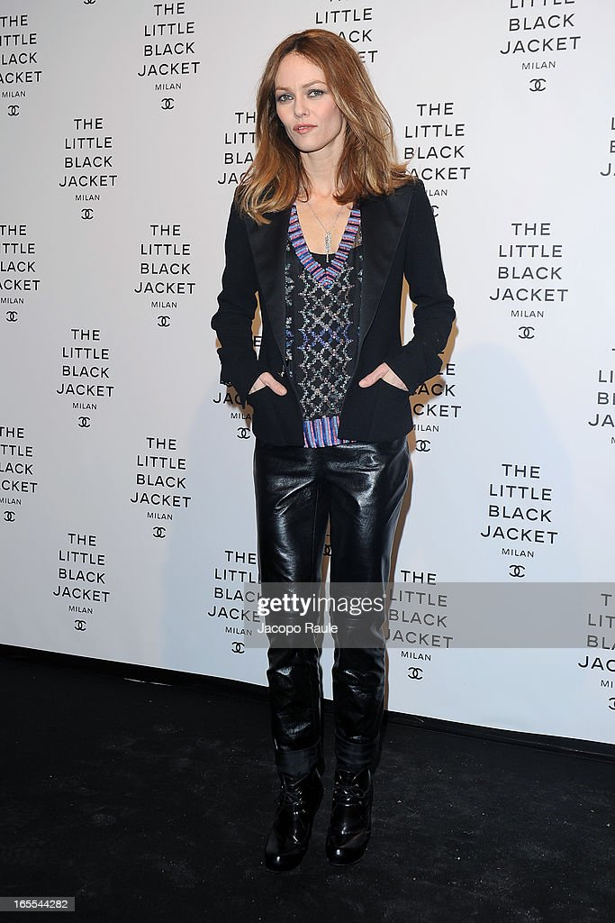 <a gi-track='captionPersonalityLinkClicked' href=/galleries/search?phrase=Vanessa+Paradis&family=editorial&specificpeople=206631 ng-click='$event.stopPropagation()'>Vanessa Paradis</a> attends hanel The Little Black Jacket - Karl Lagerfeld Photography Exhibition Dinner Party on April 4, 2013 in Milan, Italy.