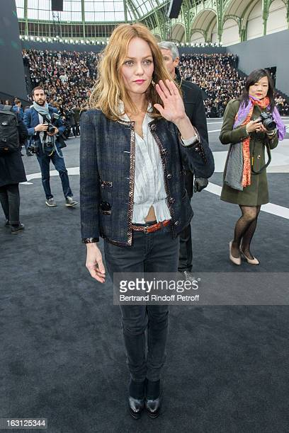 Vanessa Paradis attends the Chanel Fall/Winter 2013 ReadytoWear show as part of Paris Fashion Week at Grand Palais on March 5 2013 in Paris France
