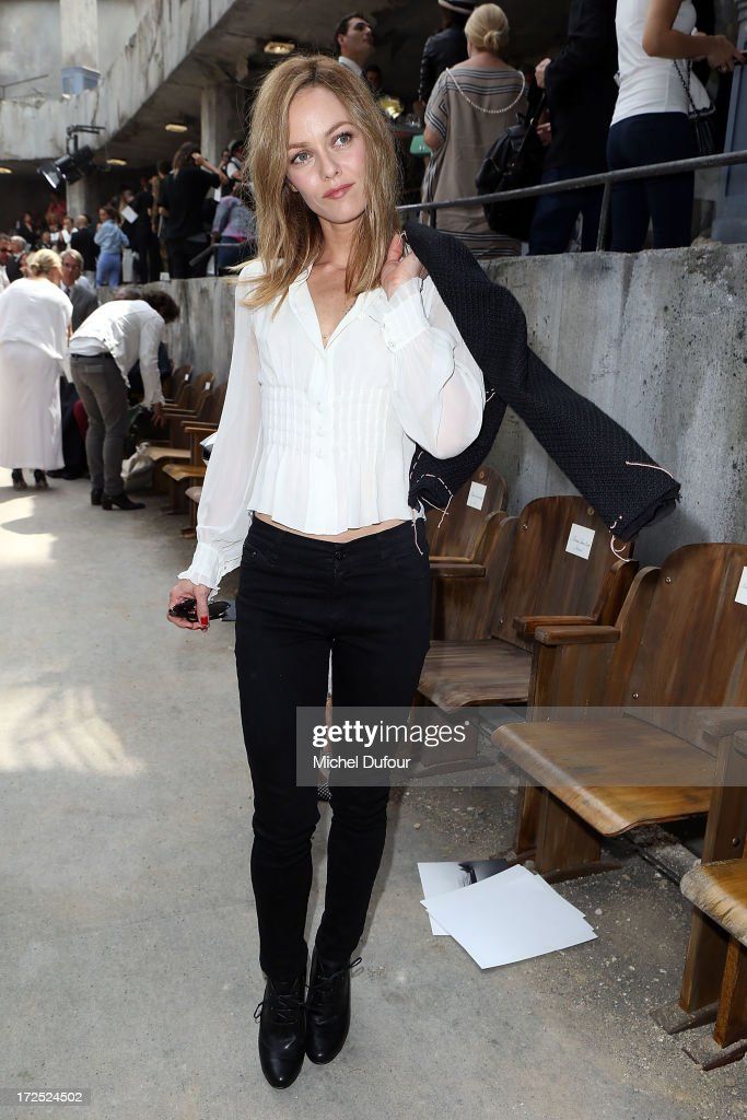 <a gi-track='captionPersonalityLinkClicked' href=/galleries/search?phrase=Vanessa+Paradis&family=editorial&specificpeople=206631 ng-click='$event.stopPropagation()'>Vanessa Paradis</a> attends the Chanel show as part of Paris Fashion Week Haute-Couture Fall/Winter 2013-2014 at Grand Palais on July 2, 2013 in Paris, France.