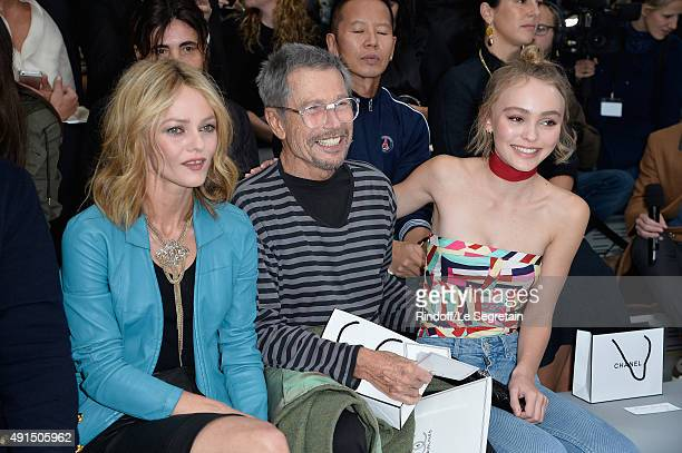 Vanessa Paradis Jean Paul Goude and Lily Rose Depp attend the Chanel show as part of the Paris Fashion Week Womenswear Spring/Summer 2016 on October...