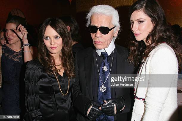 R Vanessa Paradis Karl Lagerfeld and Anna Mouglalis attend the 'Chanel Metiers d'Art' Fashion Show on December 7 2010 in Paris France