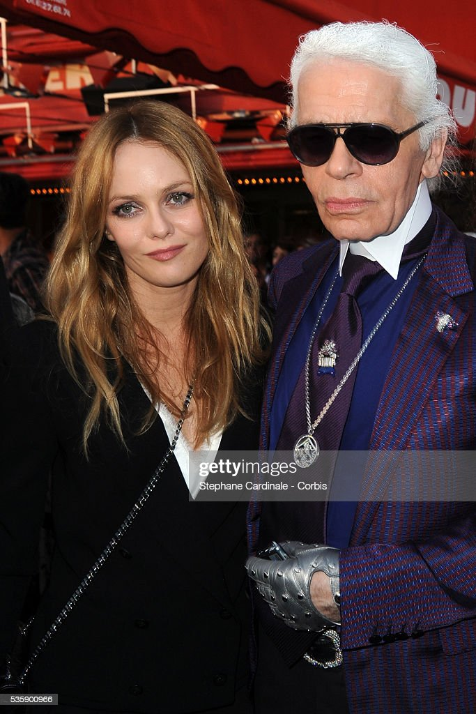 Vanessa Paradis, Karl Lagerfeld attend the Chanel Cruise Collection Presentation in Saint Tropez