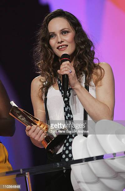 Vanessa Paradis receives the best female group or artist of the year award during the 23rd 'Victoires de la musique' awards ceremony on March 8 2008...