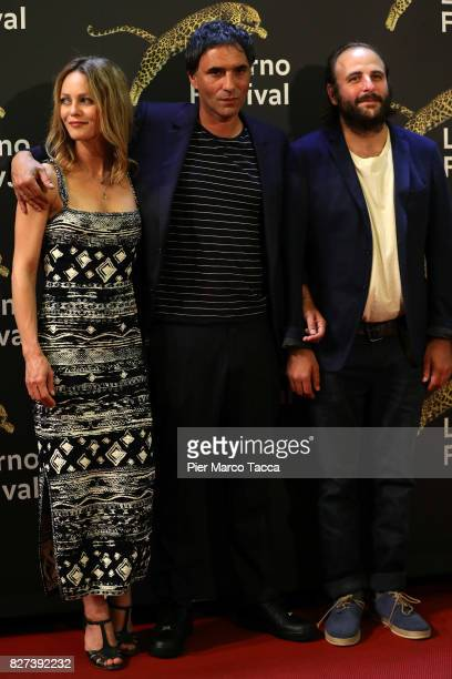 Vanessa Paradis Samuel Benchetrit and Vincent Macaigne attend the 'Chien' premiere during the 70th Locarno Film Festival on August 7 2017 in Locarno...