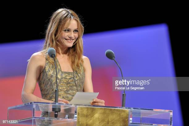 Vanessa Paradis speaks on stage during the 35th Cesar Film Awards at the Theatre du Chatelet on February 27 2010 in Paris France