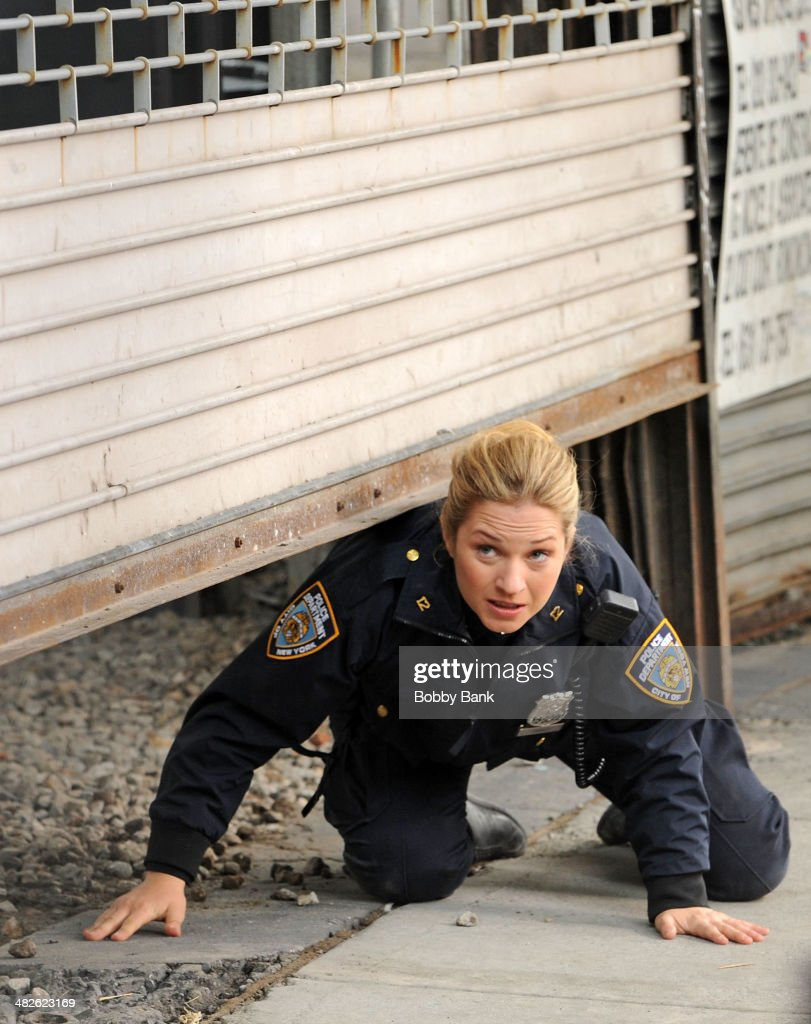 Vanessa Ray on the set of 'Blue Bloods' on April 3, 2014 in New York City.