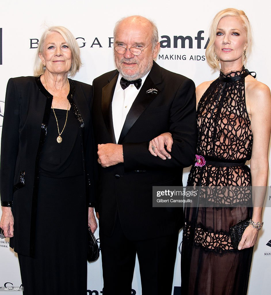 Vanessa Redgrave, Peter Lindbergh and Joely Richardson attend the 2014 amfAR New York Gala at Cipriani Wall Street on February 5, 2014 in New York City.