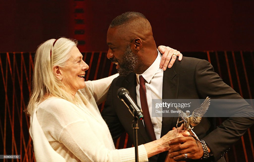 Vanessa Redgrave presents Idris Elba with the Best Actor award for 'Beasts Of No Nation' onstage at the London Evening Standard British Film Awards...