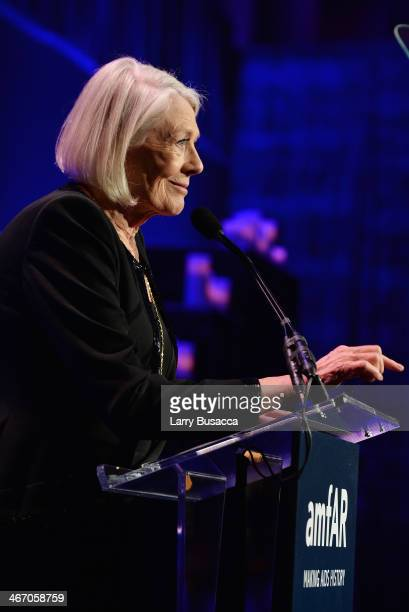 Vanessa Redgrave speaks onstage during the 2014 amfAR New York Gala at Cipriani Wall Street on February 5 2014 in New York City