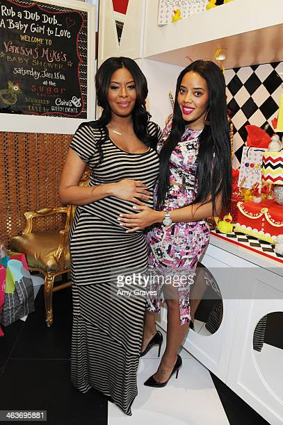 Vanessa Simmons and Angela Simmons attend Vanessa Simmons Baby Shower at Sugar Factory Hollywood on January 18 2014 in Los Angeles California