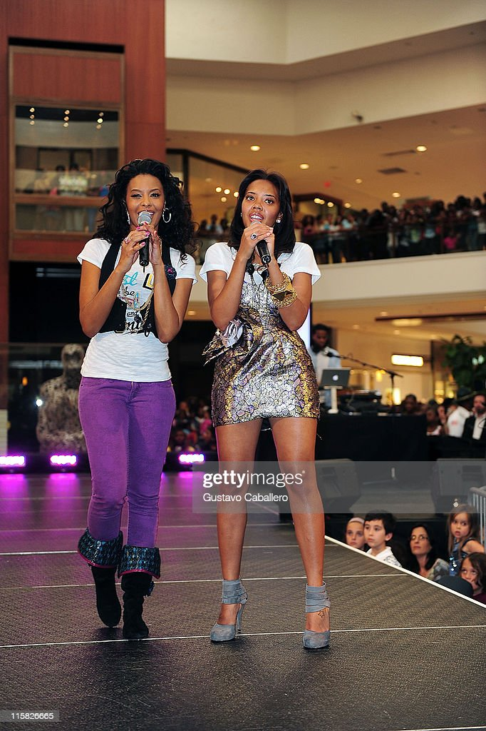 Vanessa Simmons and Angela Simmons attends the 2009 PASTRY Mall Tour presented by Seventeen Magazine and Pastry at Aventura Mall on April 7 2009 in...
