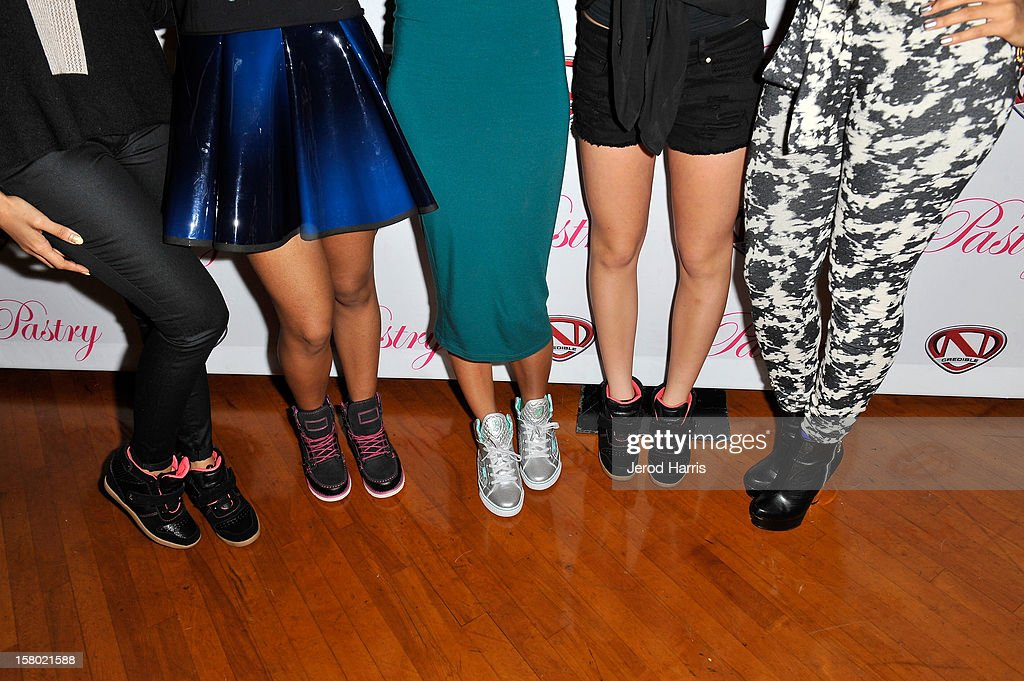 Vanessa Simmons, Jessica Jarrell, Mz Bratt, Alli Simpson and Angela Simmons (shoe detail) arrive at Pastry Shoes 'Skate & Donate' benefitting Toys For Tots on December 8, 2012 in Glendale, California.