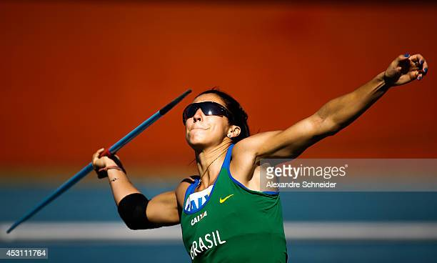Vanessa Spinola of Brazil competes in the Womens Javelin part of Eptathlon at Ibirapuera Stadium during day three of the Ibero Americanos Caixa 2014...