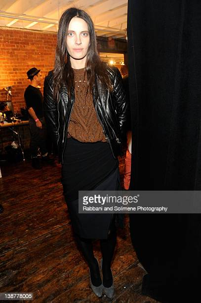 Vanessa Traina poses backstage at the Altuzarra Fall 2012 fashion show during MercedesBenz Fashion Week on February 11 2012 in New York City