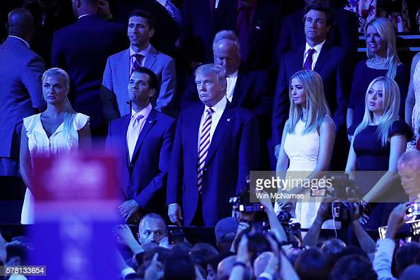 Vanessa Trump Donald Trump Jr Republican presidential candidate Donald Trump Ivanka Trump and Tiffany Trump listen during the evening session on the...