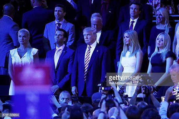 Vanessa Trump Donald Trump Jr Republican presidential candidate Donald Trump Ivanka Trump and Tiffany Trump listen during the evening session on the...