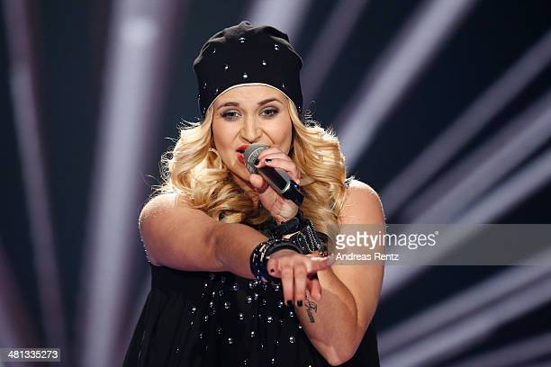 Vanessa Valera Rojas performs at the rehearsal for the 1st 'Deutschland sucht den Superstar' show at Coloneum on March 29 2014 in Cologne Germany