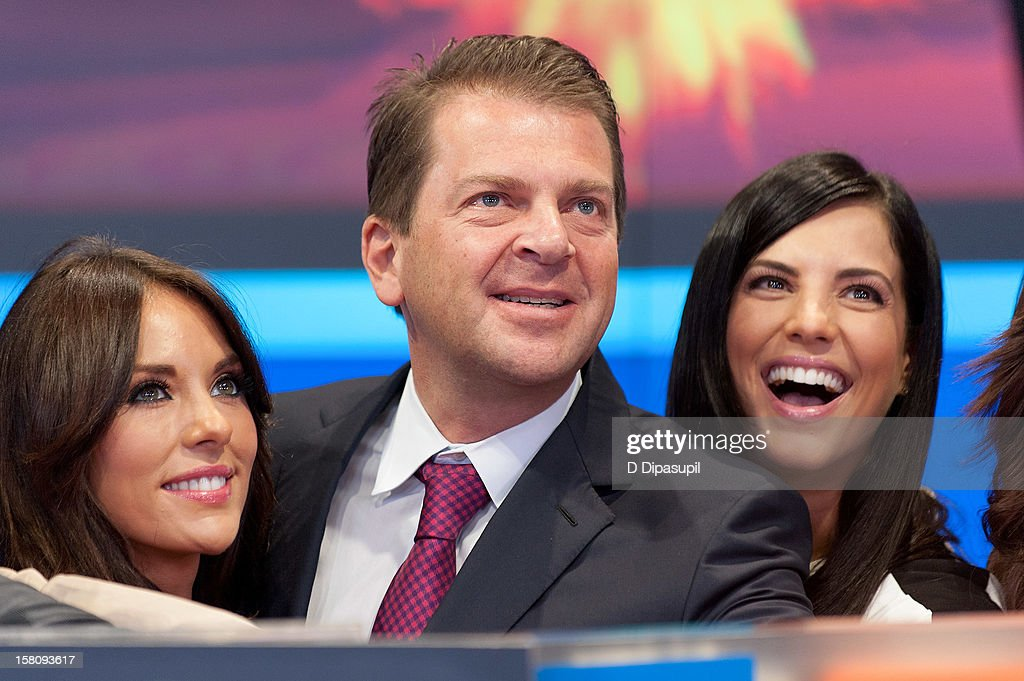 Vanessa Villela, Telemundo Media president Emilio Romano, and Gaby Espino attend the NASDAQ Opening Bell Ceremony celebrating Telemundo Media's new brand campaign at NASDAQ MarketSite on December 10, 2012 in New York City.