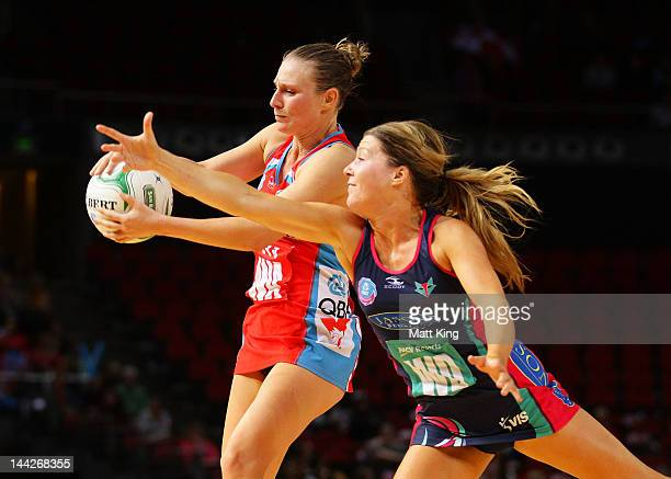 Vanessa Ware of the Swifts is challenged by Sarah Wall of the Vixens during the round seven ANZ Championship match between the Swifts and the Vixens...